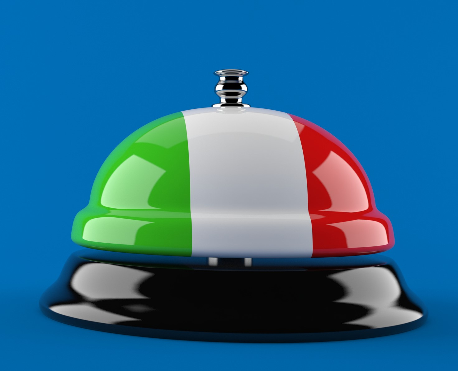Hotel bell with italian flag isolated on blue background. 3d illustration